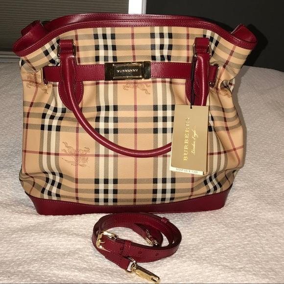 752b5cf16f5 Burberry Bags   Nwt Red Golderton Haymarket Tote Handbag   Poshmark